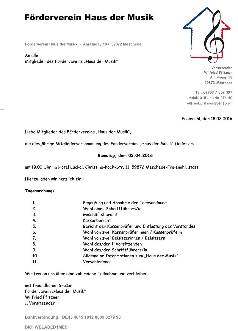 Einladung Mitgliederversammlung Haus der Musik
