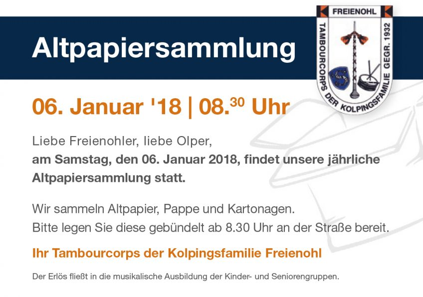 Altpapiersammlung 2017 – Save the Date
