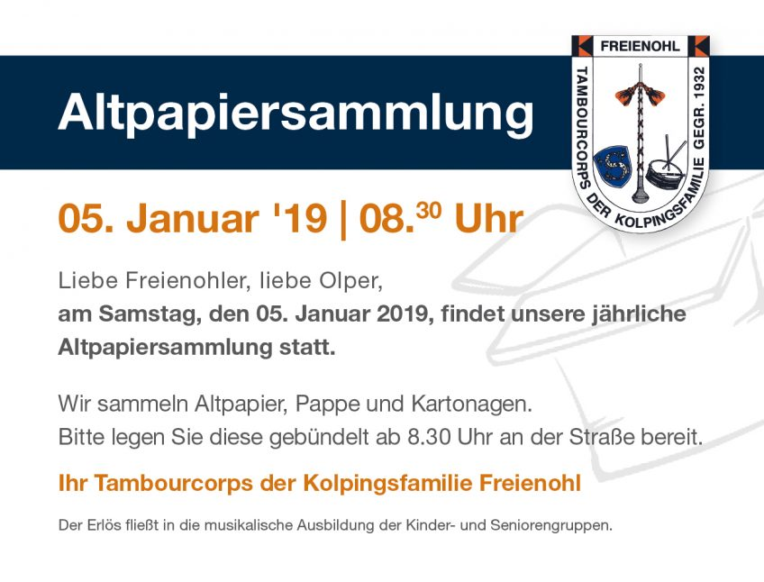 Altpapiersammlung 2019 – Save the Date